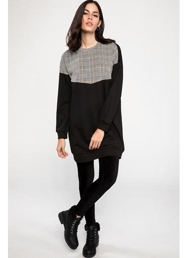 DeFacto Renk Bloklu Uzun Kollu Tunik Siyah